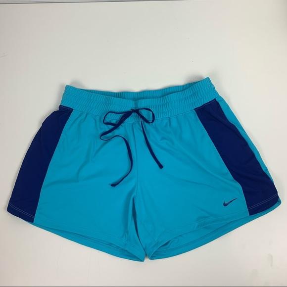 Nike Athletic Workout Shorts Blue Large